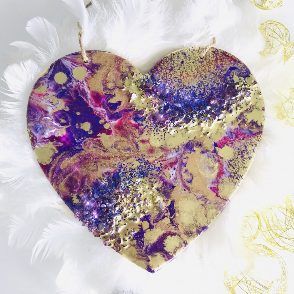 Resin heart purple