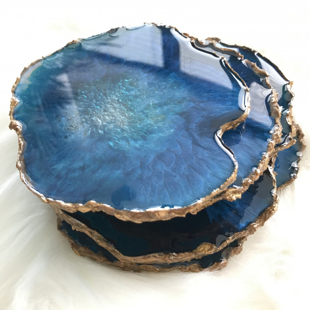 5 resin agate coaster