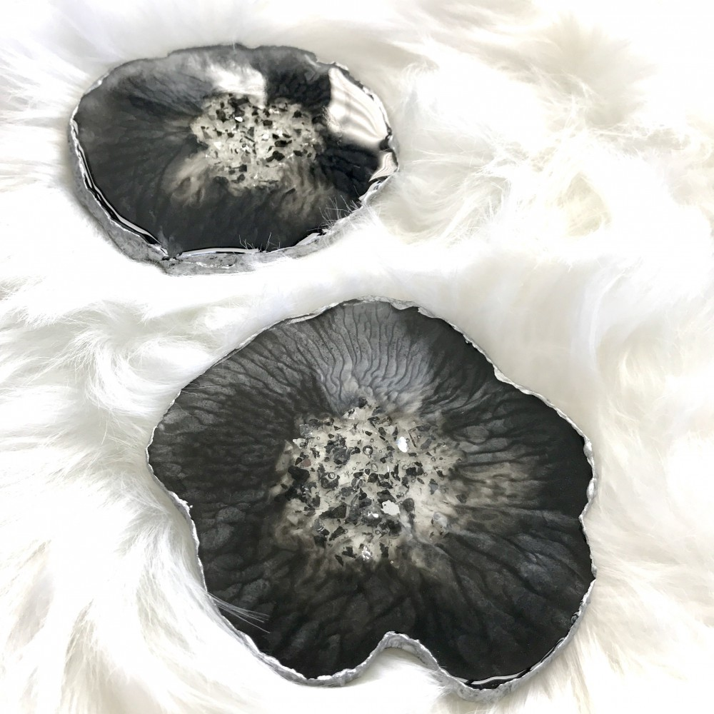 2 resin agate coaster black silver
