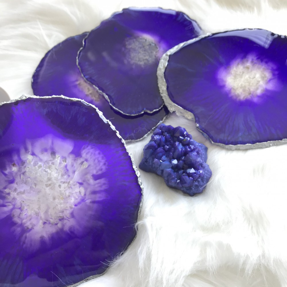 4 resin agate coaster with resin crystal