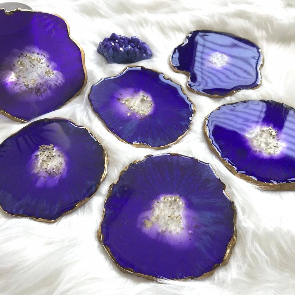 6 resin agate coaster purple/gold with resin amethyst