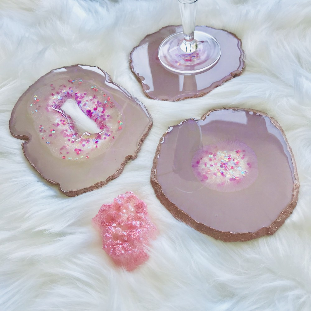 3 resin agate coaster with resin crystal
