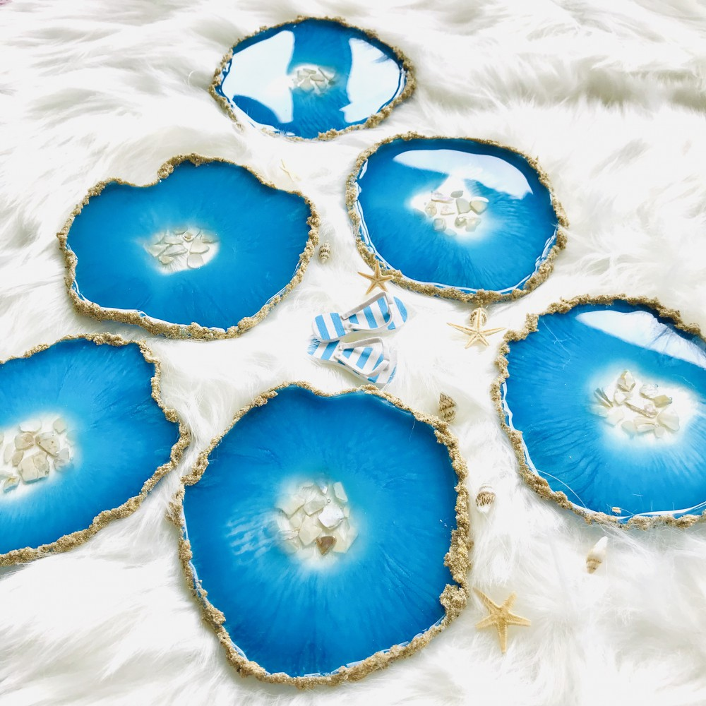 6 resin agate coaster turquoise blue