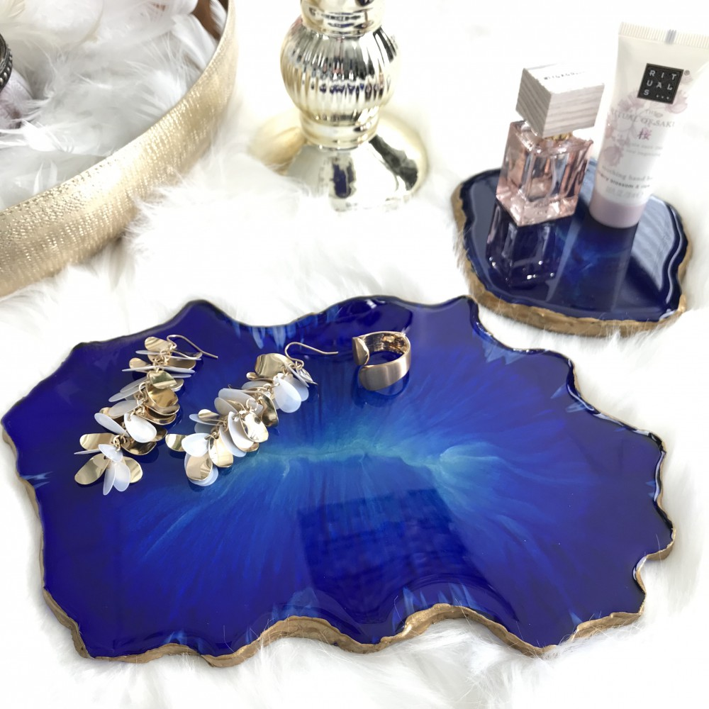 Resin Geode Tablett Set royalblau