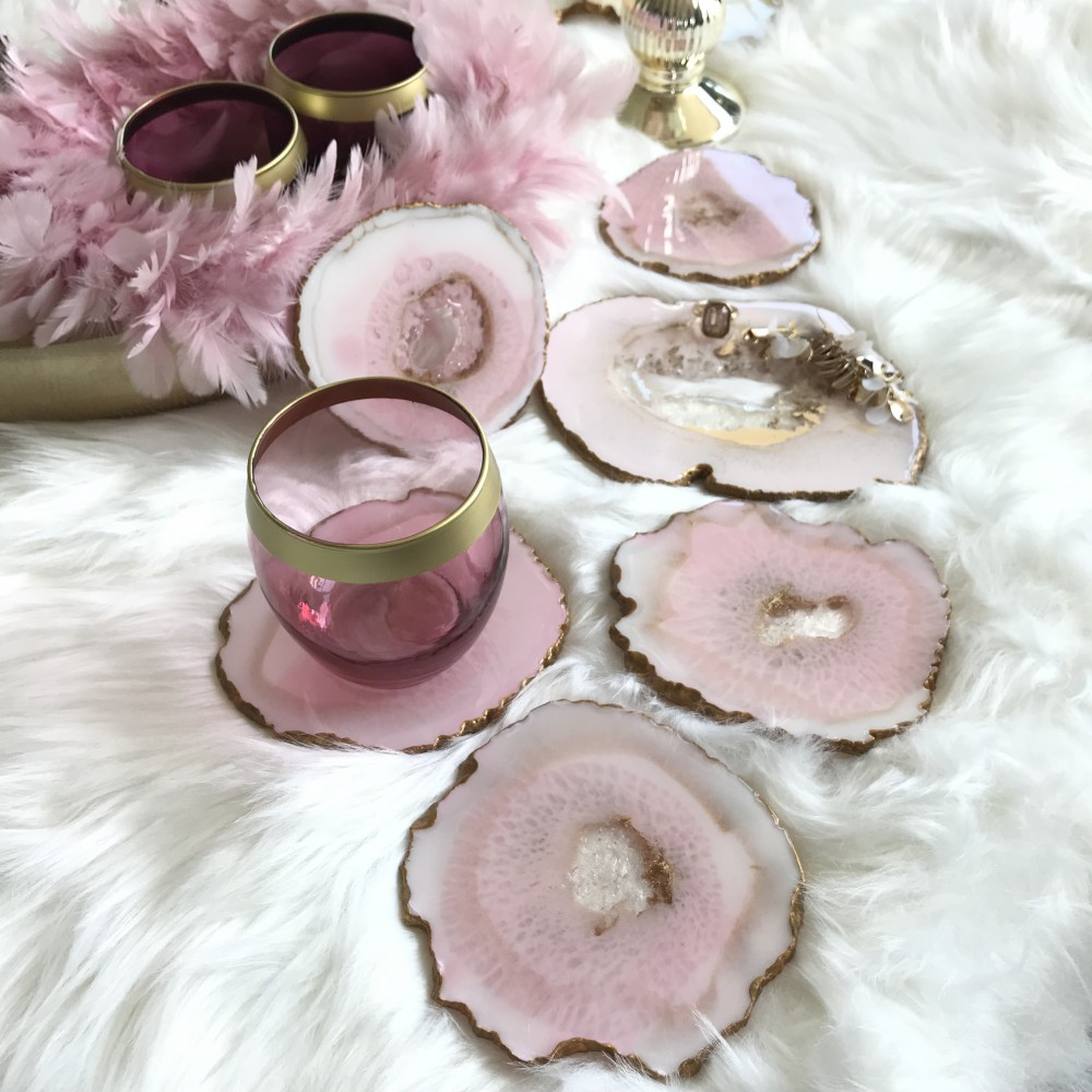 6 resin agate coaster rose gold
