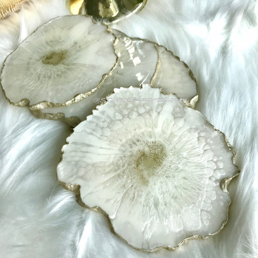 4 resin agate coaster champagner