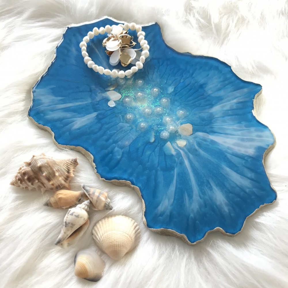 Resin geode tray turquoise