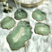 Resin geode set in sage