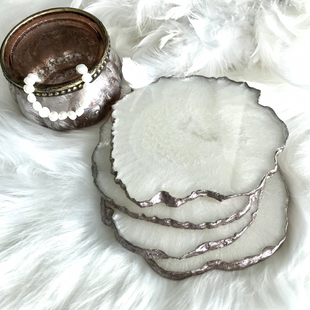4 resin agate coaster white