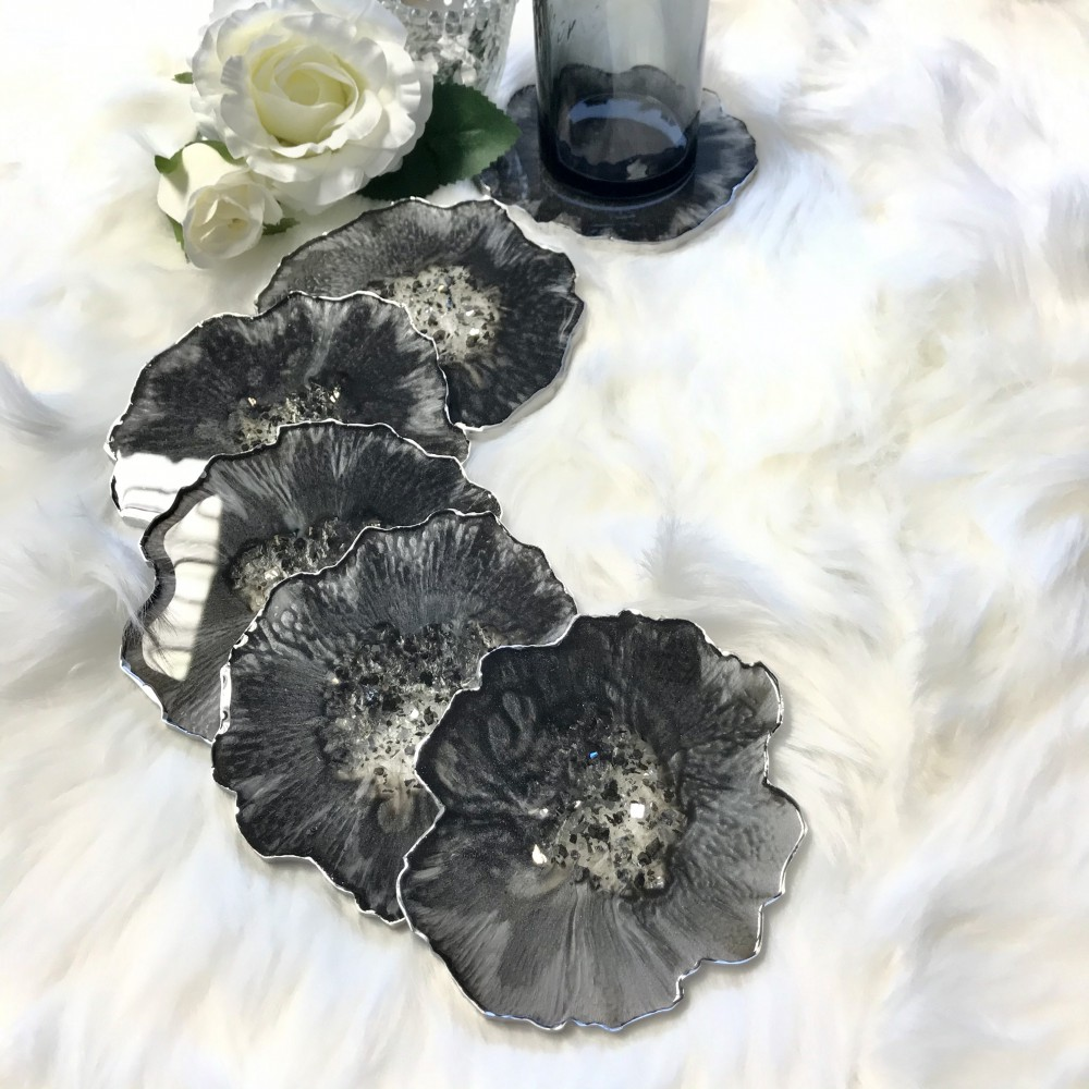 Resin agate coaster black silver