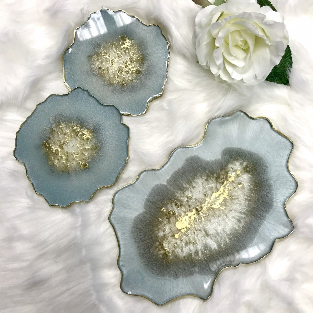 Resin geode set in blue