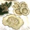 Resin geode tray gold