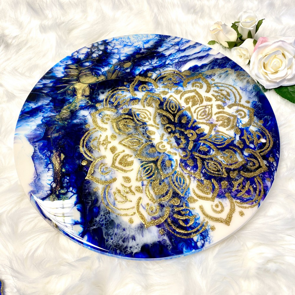 Resin turntable Golden mandala