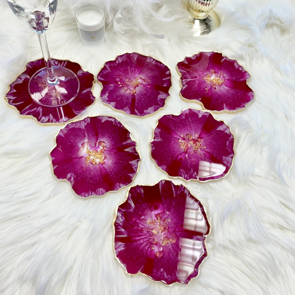 Resin Coaster Pink hibiscus U