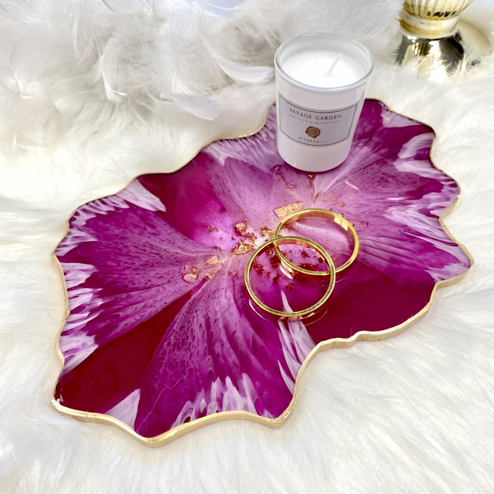 Resin geode tray pink hibiscus