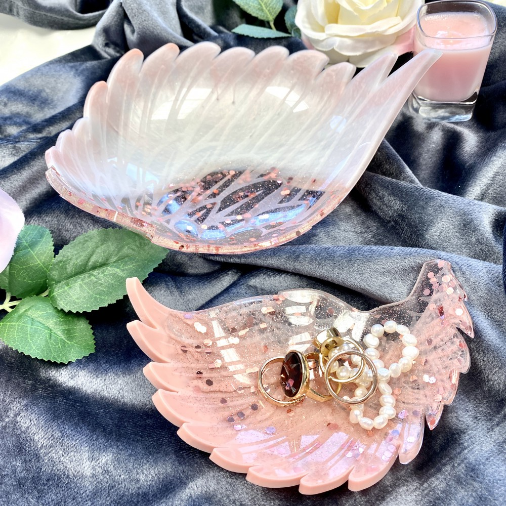 Resin bowls Angelwing S pink