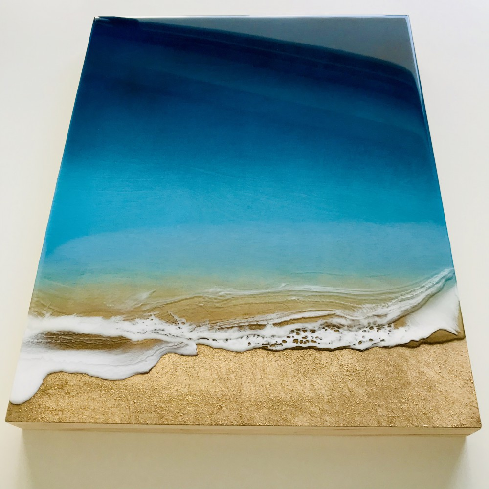 "Resin artwork ""Golden Bay"" 1"