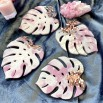 Resin coasters monstera light pink white 4U