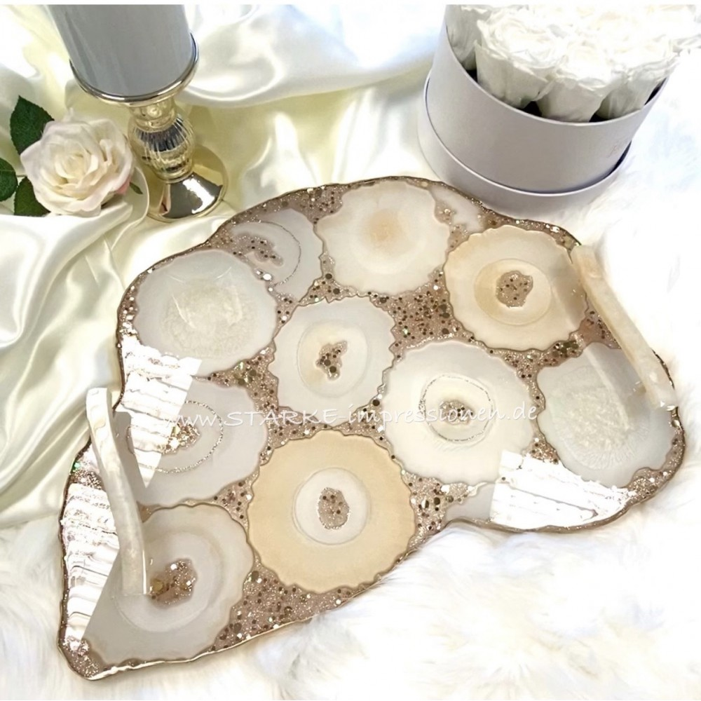 Luxury resin tray agate champagne XL